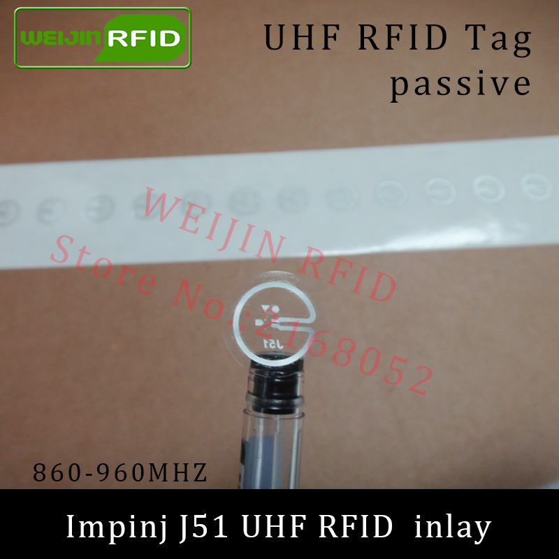 UHF RFID tag Impinj J51 dry inlay 915mhz 900mhz 868mhz 860-960MHZ  EPCC1G2 ISO18000-6C smart card passive RFID tags label 915mhz long range passive uhf rfid tag inlay label for warehouse management