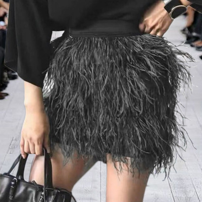 ef54d672812 real ostrich feather skirt women fashion sexy Pink blue black tassel  natural feather short skirt 2018-in Skirts from Women s Clothing on  Aliexpress.com ...