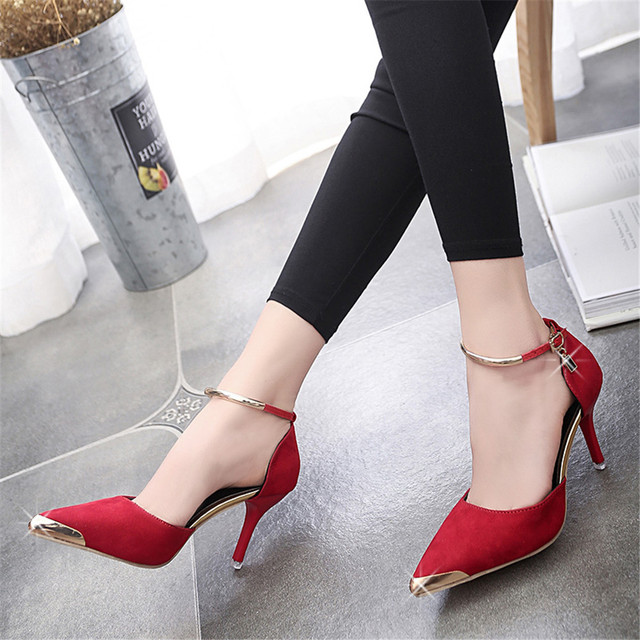 Gamiss High Heels Ladies Pumps Suede Gold Metal Pointed Toe Sexy Thin Air Heels Footwear Woman's Red Sandals Party Wedding Shoes
