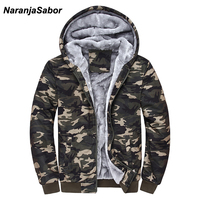 NaranjaSabor 2018 Autumn Winter Men S Jacket Hooded Coat Camouflage Hoodies Army Green Mens Clothing Fleece
