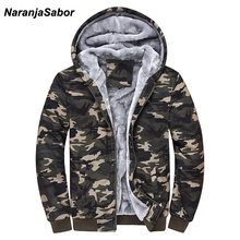 NaranjaSabor 2019 Autumn Winter Jacket Hooded Coat Camouflage Hoodies Army Green Mens