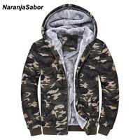 NaranjaSabor 2017 Autumn Winter Men S Jacket Hooded Coat Camouflage Hoodies Army Green Mens Clothing Fleece