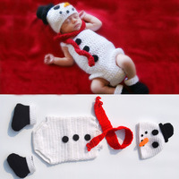 2016 New Crochet Knitted Snowman Hat Cap Baby Romper Scarf And Shoes Set Newborn Halloween Costume