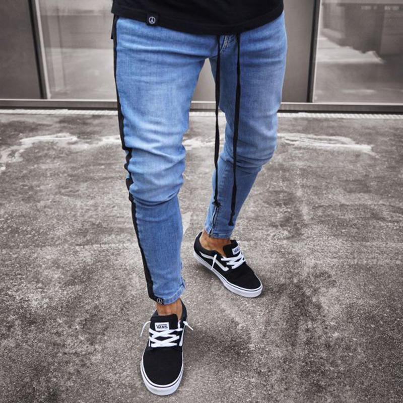 Men Hip Hop   Jeans   Men   Jeans   Black Stripe Slim Fashion Denim Joggers Mens Pants Moletom Masculino S-3XL Slim Fit for Guys