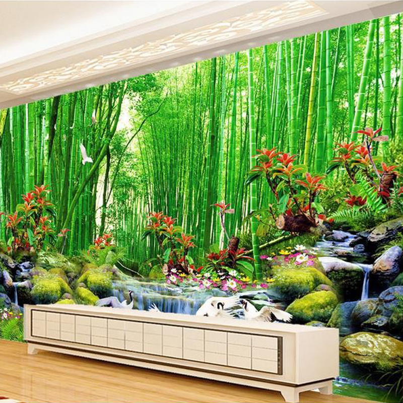 3d wall mural wallpaper landscape bamboo forest wall paper for Bamboo mural wallpaper