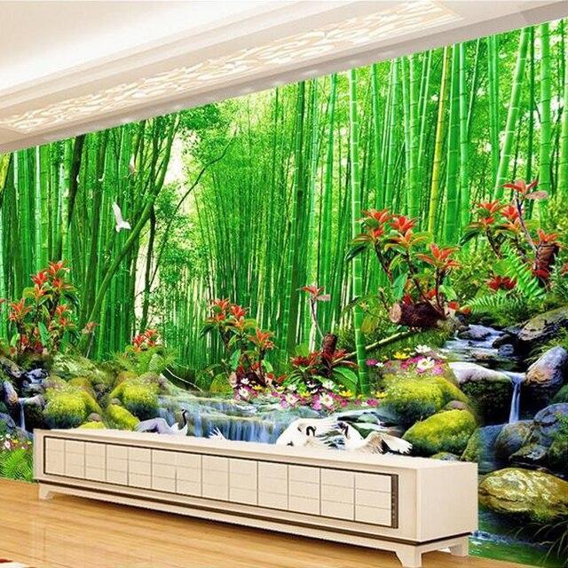 3D Wall Mural Wallpaper Landscape Bamboo Forest Wall Paper Natural