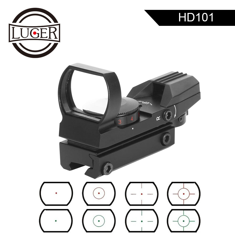 LUGER Riflescope Tactical Reflex 4 Reticle Optics Holographic Red Dot Sight Hunting Scope 11mm/20mm Rail For Airsoft Air Gun