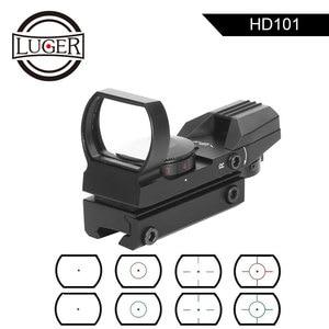 Image 1 - LUGER point rouge vue Reflex 4 réticule tactique portée collimateur optique vue 11/20mm Rail holographique chasse fusil portée