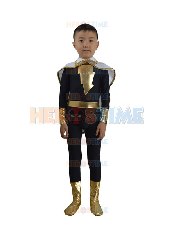 Kids Adam costume The most popular halloween cosplay spandex Child Black Adam Marvel Family Costume zentai suit