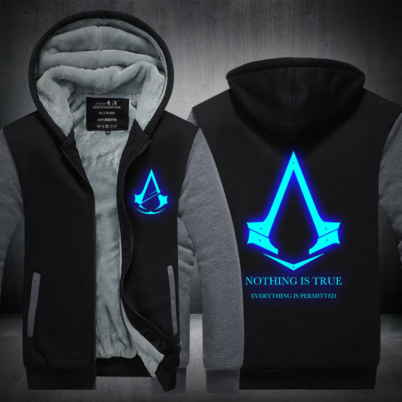 2016New Winter Fashion Luminous pattern Assassin Creed Hoodie Zipper Sweatshirt Ticken Cool Hoodies Men USA EU
