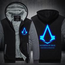 2016New Winter Mode Leucht muster Assassins Creed Hoodie Reißverschluss Sweatshirt Ticken Kühle Kapuzenpullis Männer USA EU größe Plus größe