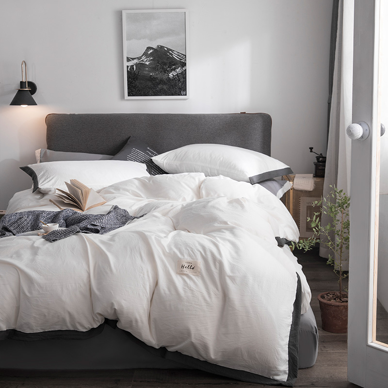 Solid washed cotton duvet cover set summer comforter cover bedsheet Pillowcase white bedding sets Twin Queen King size BedlinenSolid washed cotton duvet cover set summer comforter cover bedsheet Pillowcase white bedding sets Twin Queen King size Bedlinen