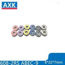 AXK 8PCS 608ZZ 8x22x7mm Shielded Deep Groove Radial Ball Bearing
