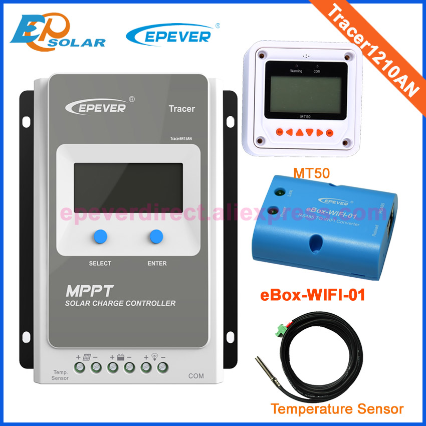 Solar panel charge controller mppt EPsolar with wifi BOX use temperature sensor+MT50 remote meter Tracer1210AN 10A mppt epsolar 10a solar controller tracer1210an with black mt50 remote meter usb temperature sensor