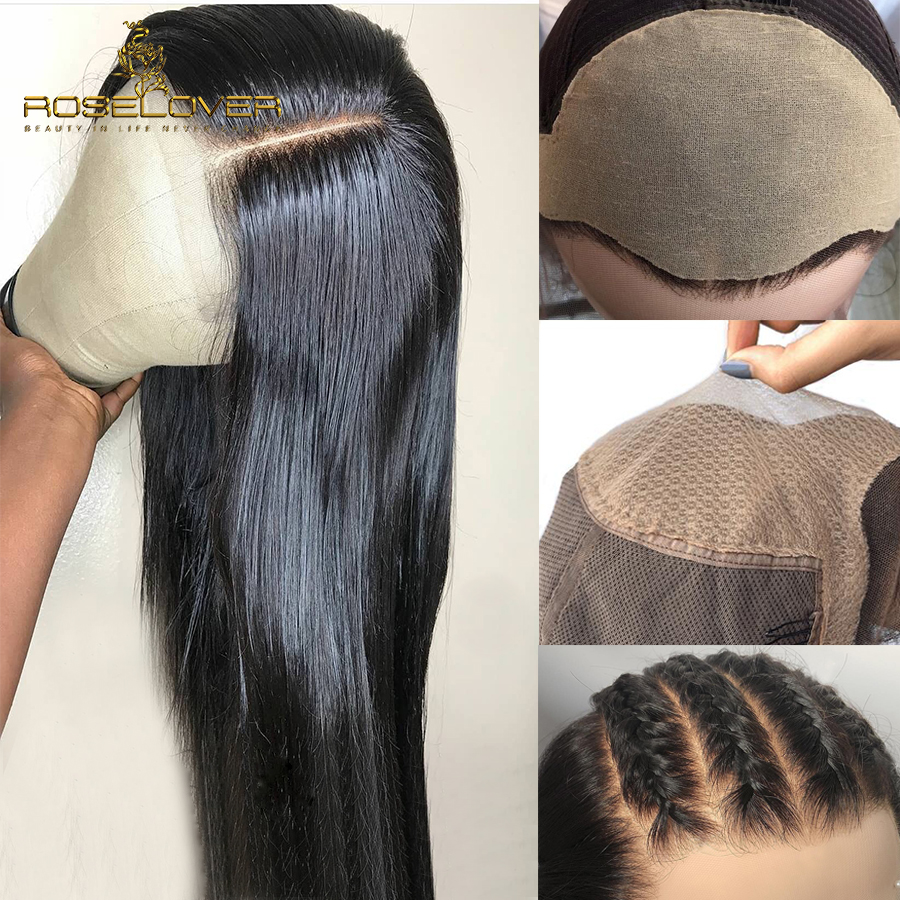 Straight 13*6 Lace Front Human Hair Wigs Fake Scalp Wig Undetectable Peruvian Remy Hair Wigs Breathable Pre Plucked Bleach Knots