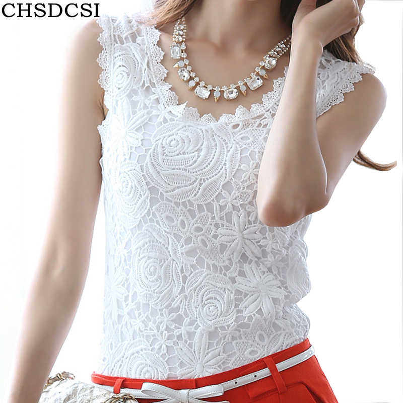 Blusas Femininas 2019 Summer Women Blouse Lace Vintage Sleeveless White Renda Crochet Casual Shirts Tops Plus Size S M L XL XXL