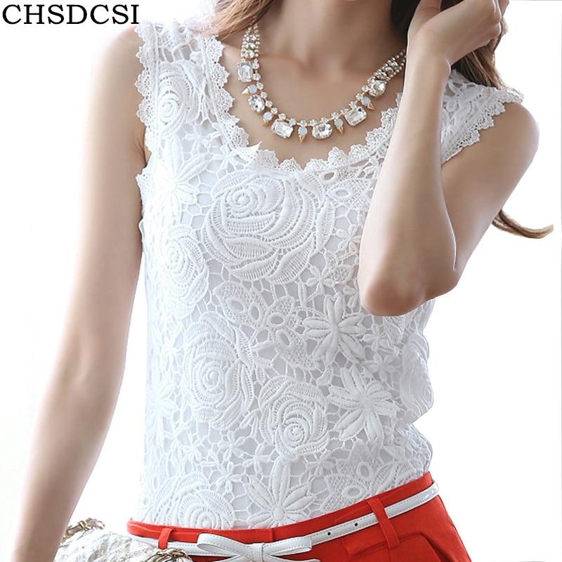 Blusas Femininas 2020 Summer Women Blouse Lace Vintage Sleeveless White Renda Crochet Casual Shirts Tops Plus Size S M L XL XXL