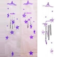 Звезды пластиковые хрустальные 4 металлические трубки Windchime Wind Chime домашний декор для сада#76473