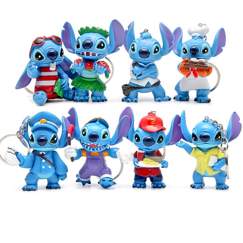 8pcs Mini Stitch figurines figura key chain toy set 2016 New Anime stitch Christmas gift and dolls Home party supply Decoration