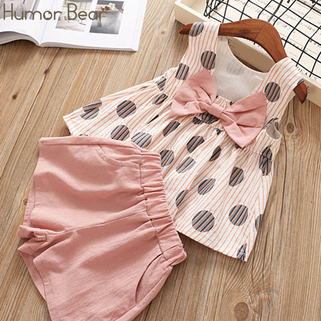 Humor Bear Baby Girls Clothes Sets 2019 Summer Dot flying sleeve top+strap dress+Headband 3-piece kids Children's Clothing Suit 2
