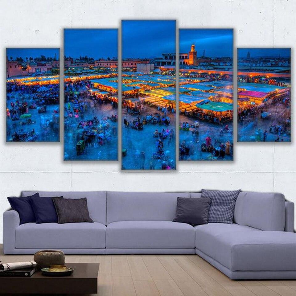 Modular abstrak wall art living room canvas lukisan 5 pieces kecantikan marrakech kehidupan malam gambar hd cetakan poster home decor di painting