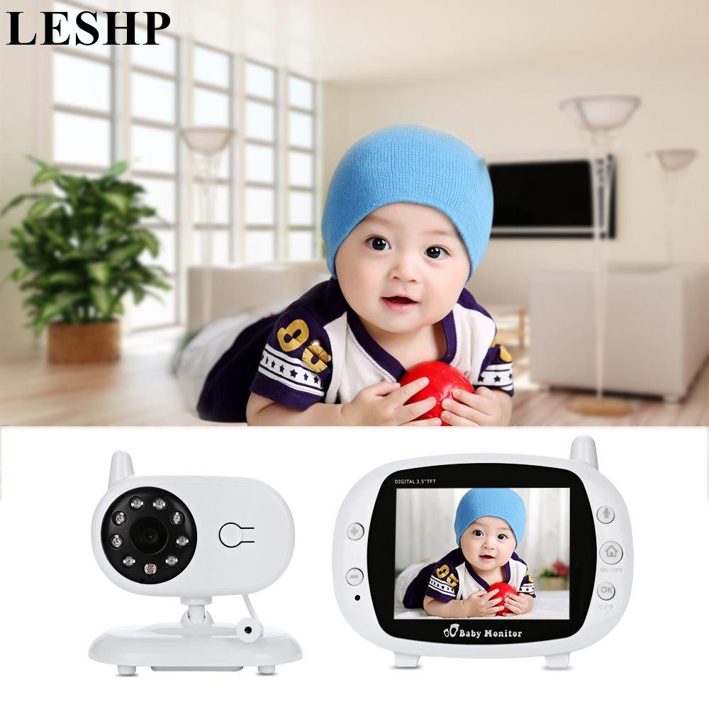 LESHP Wireless Video Audio Baby Monitor 3.5 inch LCD Night vision Intercom Lullabies Temperature sensor Babysitter Camera wireless 2 4 lcd color baby monitor high resolution lullabies kid nanny radio babysitter night vision remote camera newborn gift