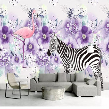 Custom 3d wallpaper Nordic fresh hand-painted zebra moving purple flower plant decorative painting background wall