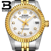 Genuine Luxury BINGER Brand Women automatic mechanical self wind watch female sapphire business waterproof fashion calendar