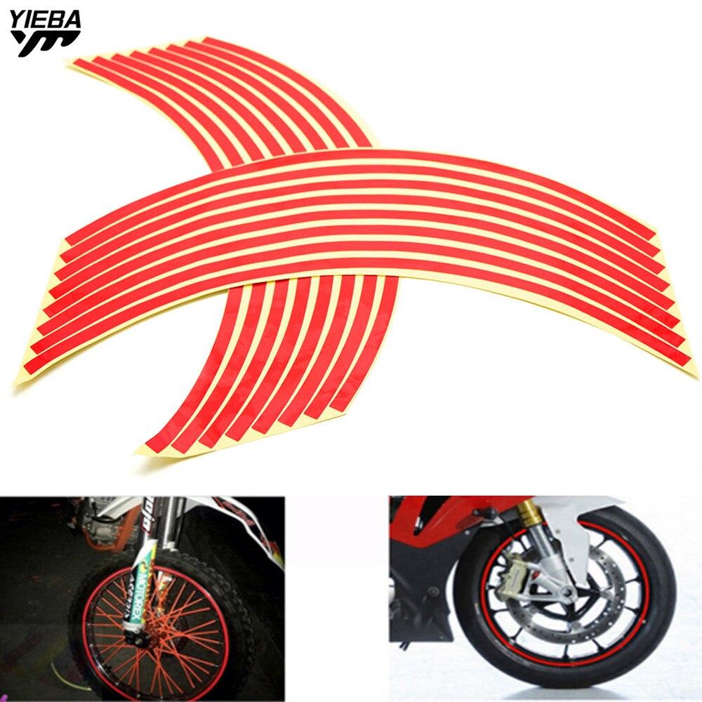 16 Strips Bike Motorcycle Wheel Sticker Tape 17 18inch For YAMAHA XJR400 XJR1200 XJR1300 XJ600 XJ6 MT07 MT09 Honda MSX125 GW250