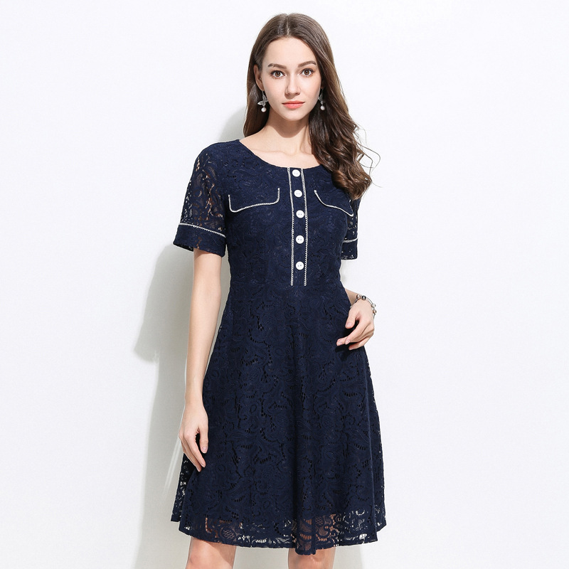 Élégante belle robe d'été en dentelle évider contraste couleur sexy robe de soirée pincée taille juniors robe grande taille vestido 5XL