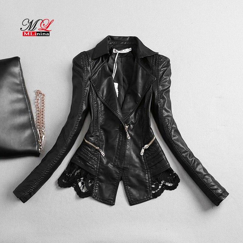 MLinina grande taille automne cuir veste femmes court noir dentelle Pu cuir manteau 2019 nouvelles dames hiver moto vêtements d'extérieur pour femmes