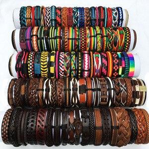 Image 4 - ZotatBele 50 sztuk/partia Handmade męska mieszane style plecione skórzane bransoletki mankietów biżuteria (wyślij losowo 50 sztuk bransoletki) MX3