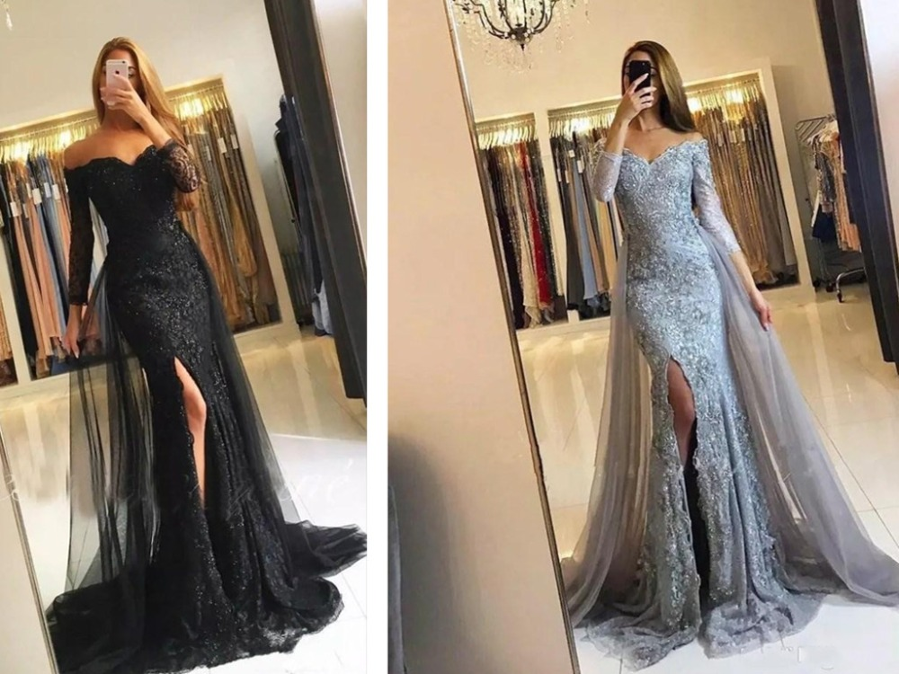 Modest Appliqued Lace   Evening     Dresses   Off The Shoulder Tulle Corset Lace Up   Evening   Gowns Party   Dress   Mermaid Full Sleeves 2019