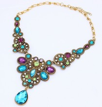 Hot Jewelry Fashion Bohemia Vintage Crystal Flower Choker Necklaces For Woman 2015 New necklaces & pendants Gift 178