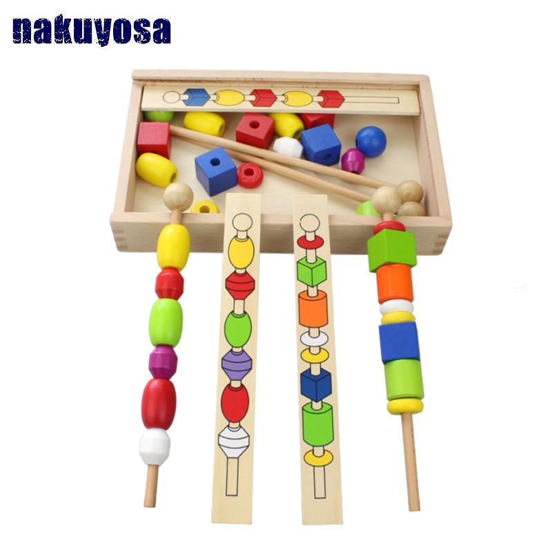1-3 ans enfants à la main perlé Montessori enseignement sida jouets en bois apprentissage éducation enfants cadeau d'anniversaire