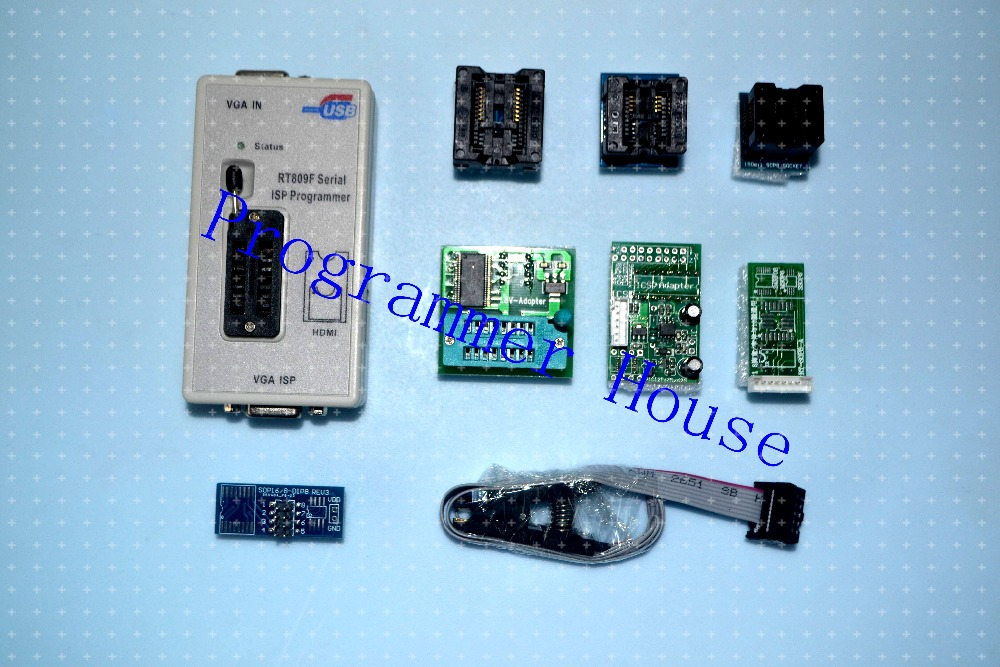 100% Original RT809F programmer + 7 Adapters + IC clip clamp +1.8V adapter VGA LCD programmer ICSP board 24 25 93 serise IC шторы реалтекс классические шторы alexandria цвет венге молочный венге