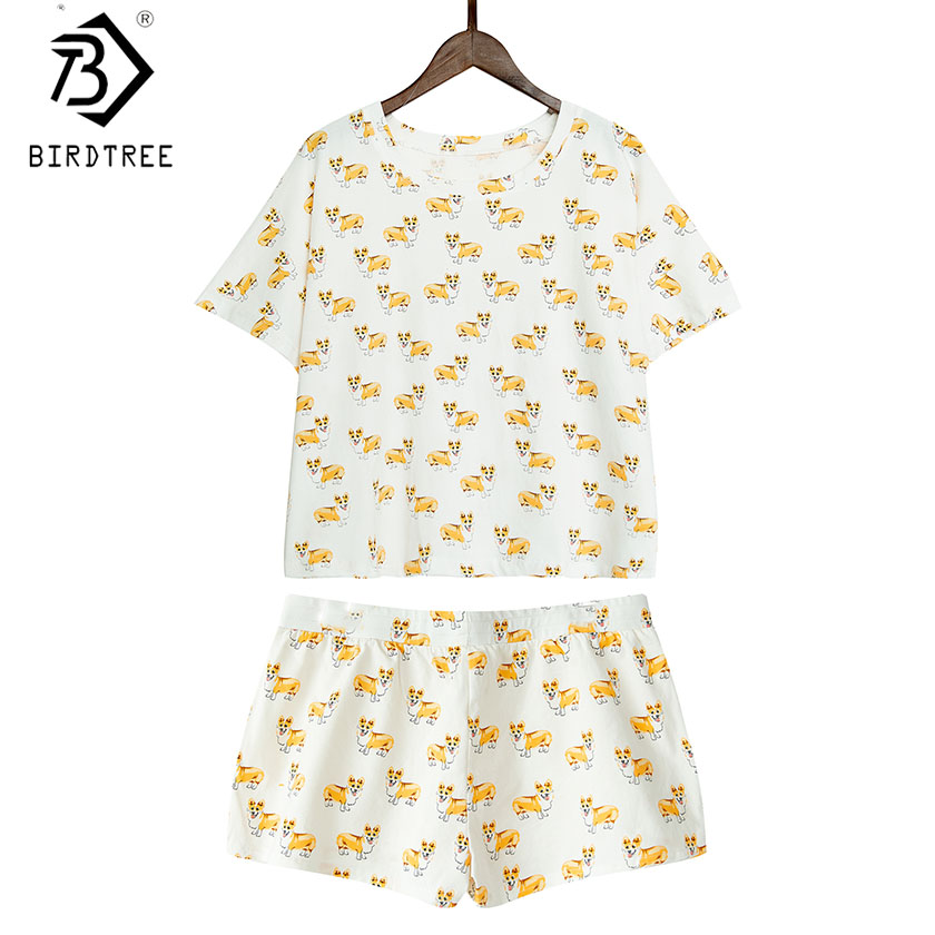 Women Cute Corgi Dog Print Sets 2 Pieces Pajama Suits Crop Top Shorts Stretchy Loose Tops Pijama Elastic Waist S78901 To Adopt Advanced Technology Underwear & Sleepwears