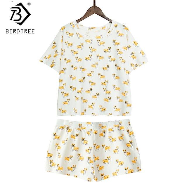 ba9d3c848dae Women Cute Corgi Dog Print Sets 2 Pieces Pajama Suits Crop Top + Shorts  Stretchy Loose Tops Pijama Elastic Waist S78901