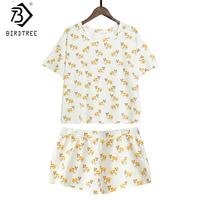 Women's Cute Corgi Dog Print Sets 2 Pieces Pajama Suits Crop Top + Shorts Stretchy Loose Tops Pijama Elastic Waist S78901