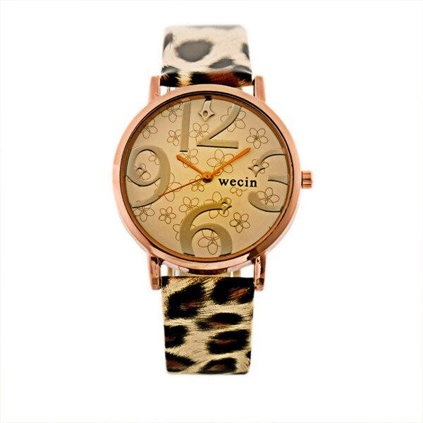 Fashion Brand Men Women Unisex Big Number Quartz Watch PU Leather Band Alloy case stainless steel