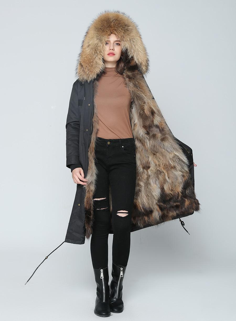 2019 Real Fur Coat Winter Jacket Women Long Parka Waterproof Big Natural Raccoon Fur Collar Hood Thick Warm Real Fox Fur Liner 69