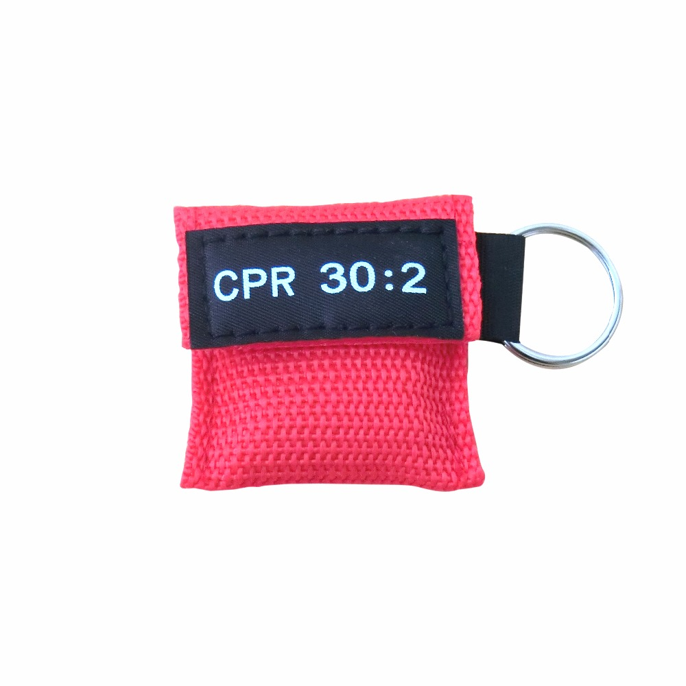 1000Pcs/Pack CPR Mask Emergency CPR Keychain Face Shield One-way Valve For First Aid Rescue With Red Nylon Bag
