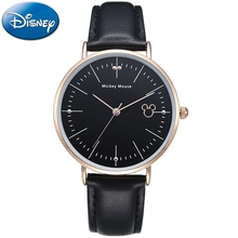 Ultra Thin Men Leather Strap Quartz Round Waterproof Fashion Watches Mens Disney Brand Gift Watch Teen Student Clock Hour Mickey genuine disney roman type women dress best quality leather antique watches girl fashion casual quartz watch famous hour mickey