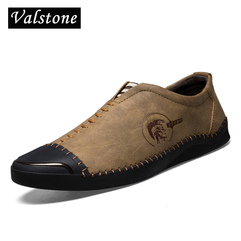 Valstone NEW Arrival Spring Leather casual Shoes Men quality microfiber Loafers vintage moccasins slip-on flats daily shoes male npezkgc new arrival casual mens shoes suede leather men loafers moccasins fashion low slip on men flats shoes oxfords shoes