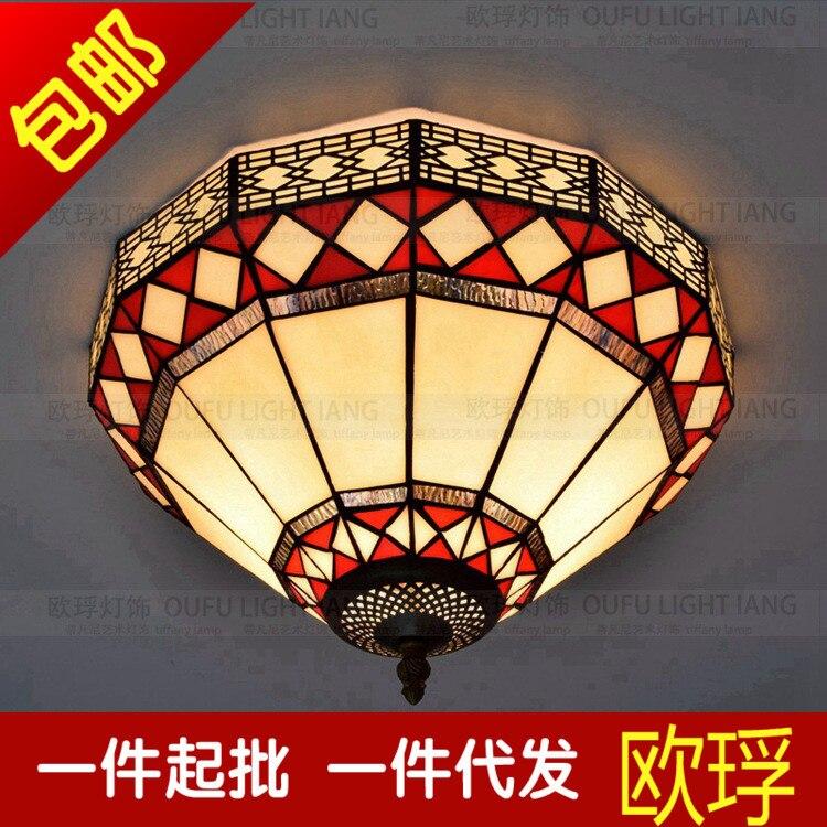 European  Tiffany red ceiling lamp Chinese retro bedroom balcony bar restaurant decorativeEuropean  Tiffany red ceiling lamp Chinese retro bedroom balcony bar restaurant decorative