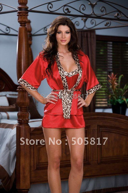 13% OFF Promotion 4pc/set Sexy women gown evening sleep lounge Sexy underwear Satin bathrobe red leopard Wholesale retail MZ6199