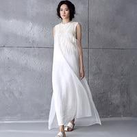 Women Summer Dress 2017 100% Linen Dress Vestidos Women Party Dresses Casual Loose Sleeveless Fashion Maxi Dress