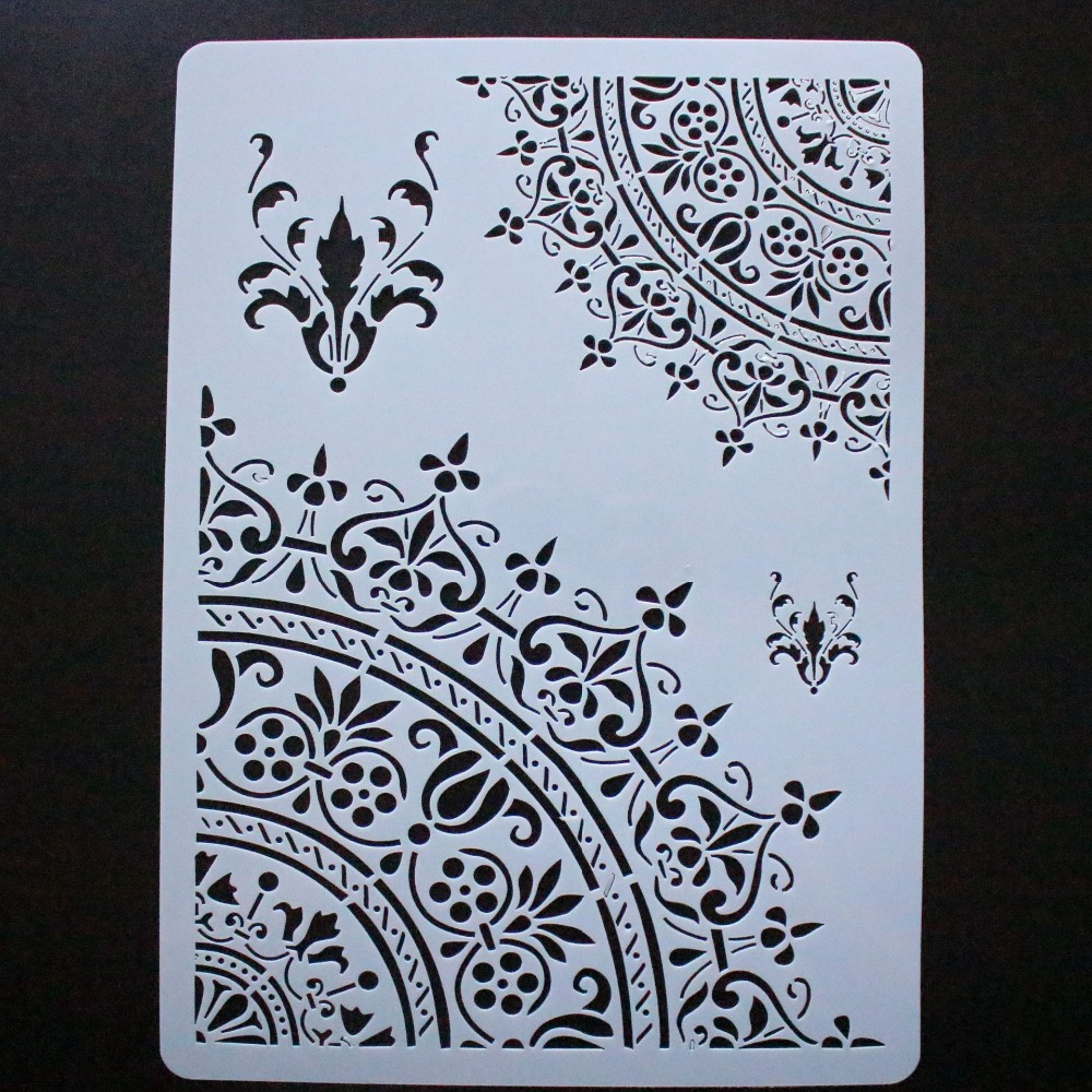A4 Floral Square DIY Layering Stencils Painting Scrapbook Embossing Template