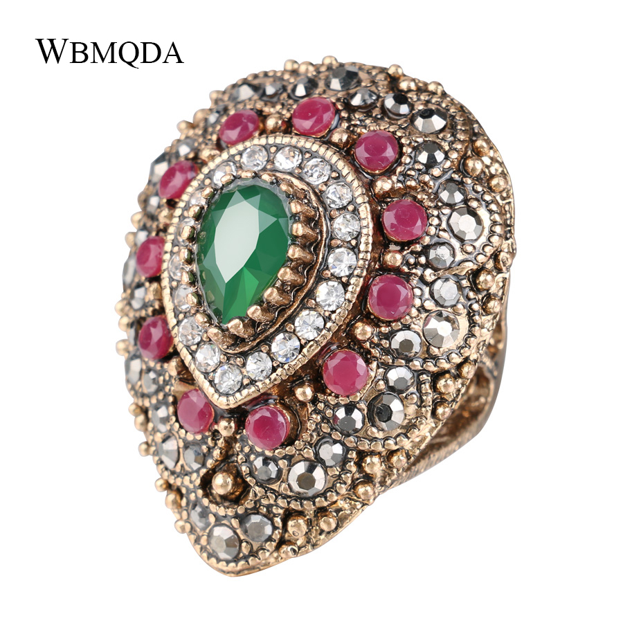 Trendy Bohemian Big Water Drop Pattern Ring Vintage Colorful Resin Crystal Rings For Women Indian Antique Gold Jewelry