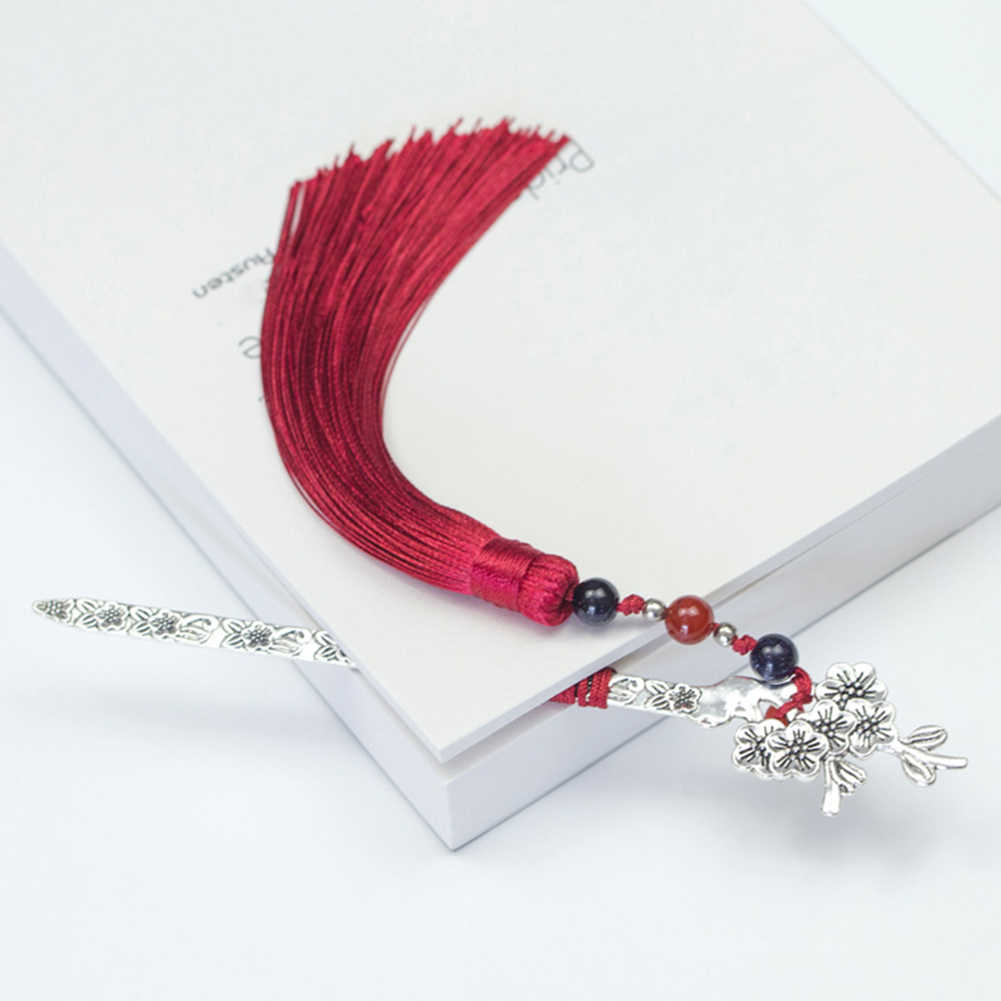 Weave Chinese Style Novelty Gifts Beads Retro Handmade Long Bookmark Hair Clasp Shape Traditional Vintage Tassels Metal